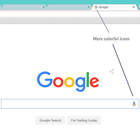Google's search page interface after new logo