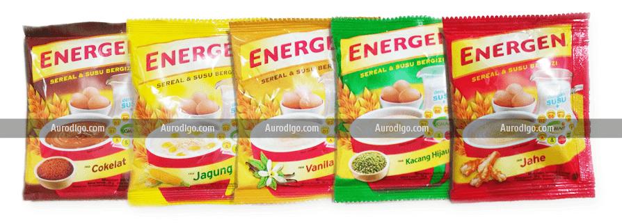 Energen rasa cokelat, Energen rasa jagung, Energen rasa vanila, Energen rasa kacang hijau, dan Energen rasa jahe.